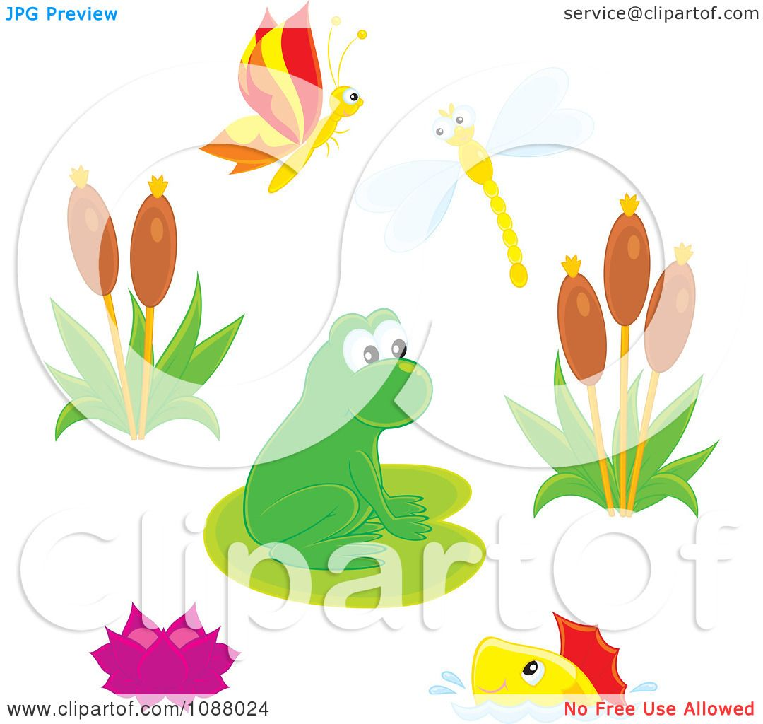Clipart Cute Frog At A Busy Pond With Insects Fish And Plants ...