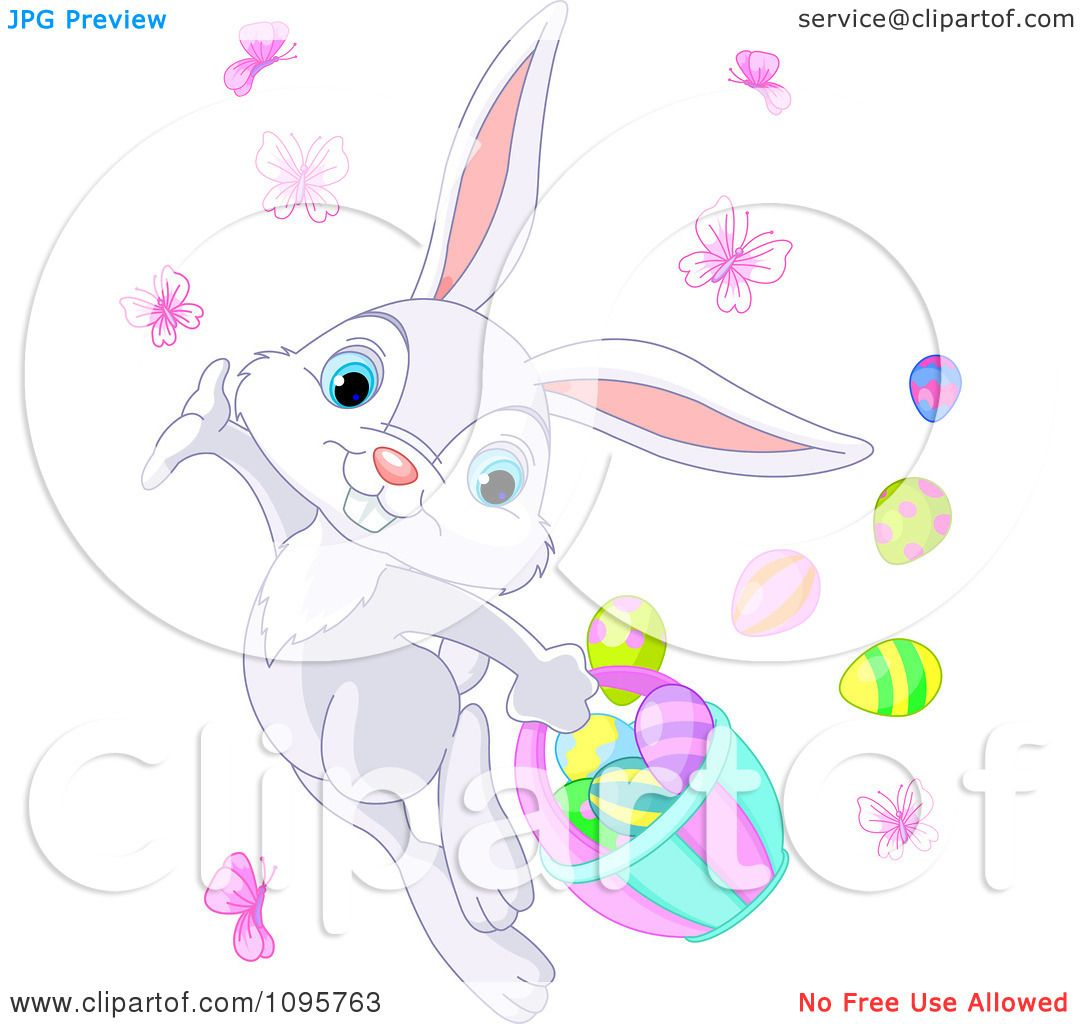 Clipart Cute Gray Easter Bunny Dancing With Butterflies