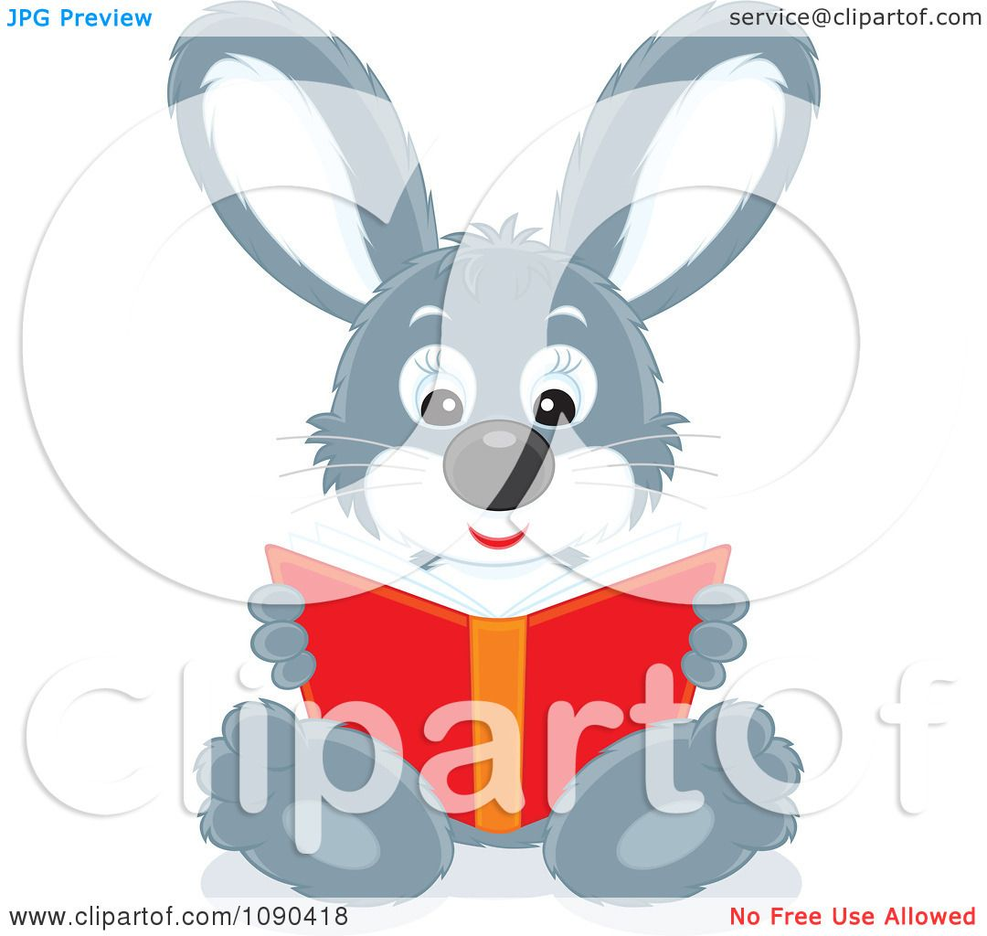 Clipart Cute Gray Rabbit Sitting And Reading A Book ...