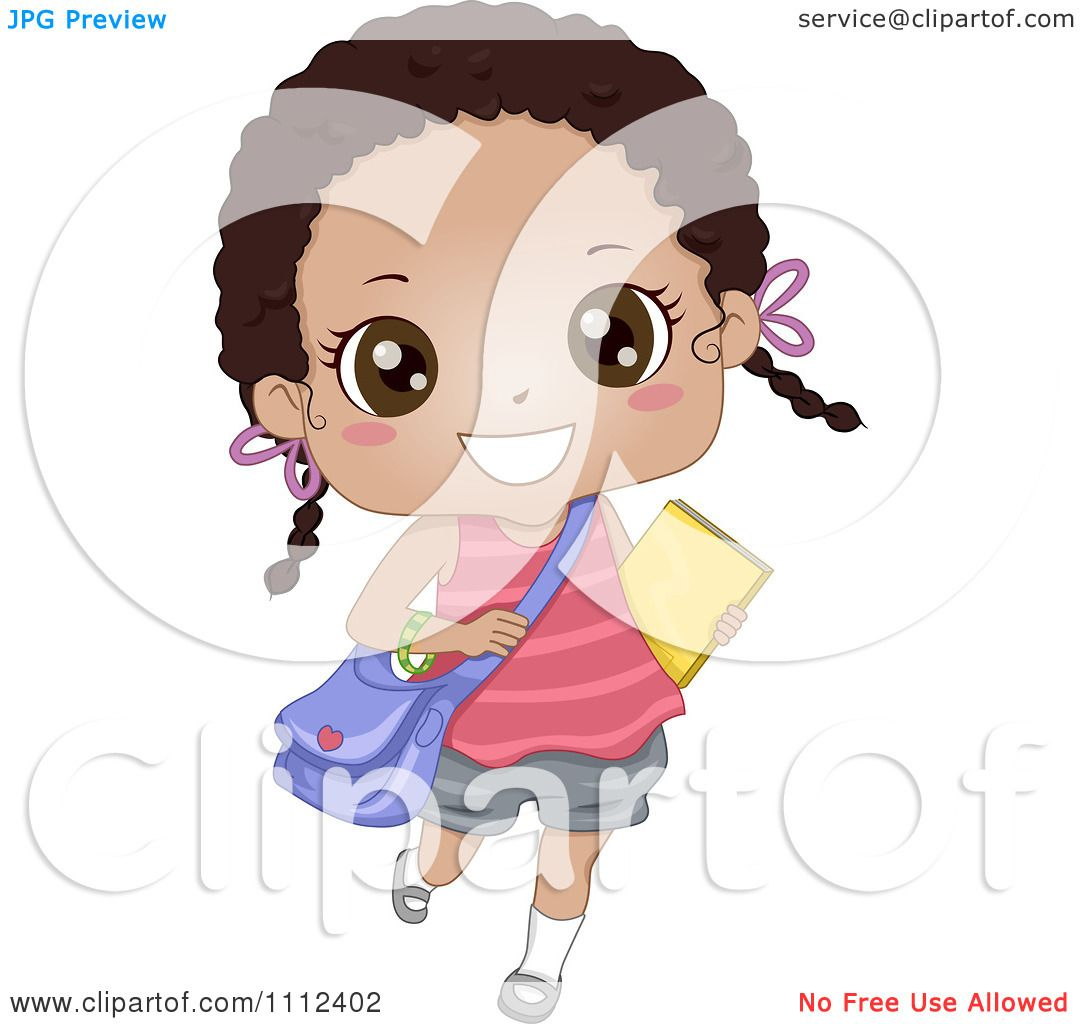 Download Clipart Cute Happy African American School Girl Carrying A ...