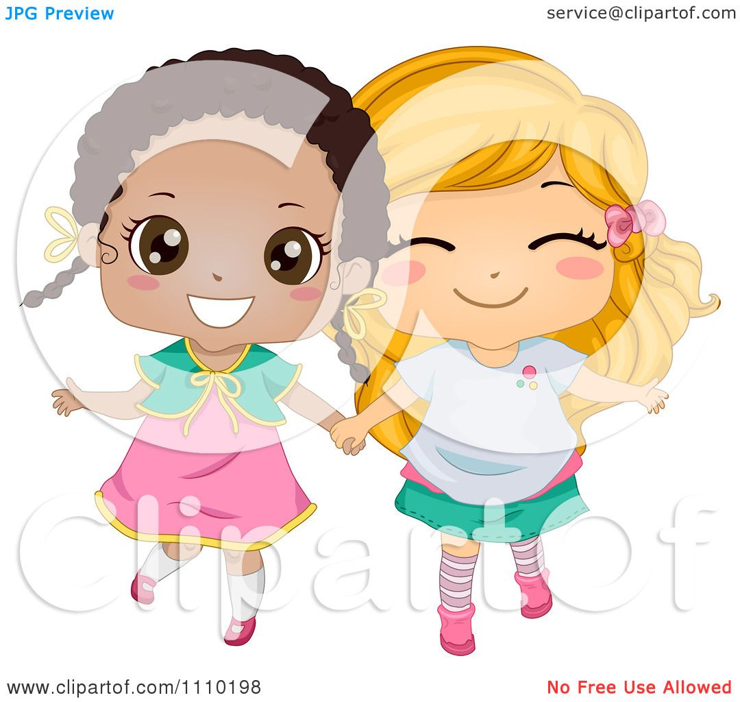 Clipart Cute Happy Best Friend Blond And Black Girls ...