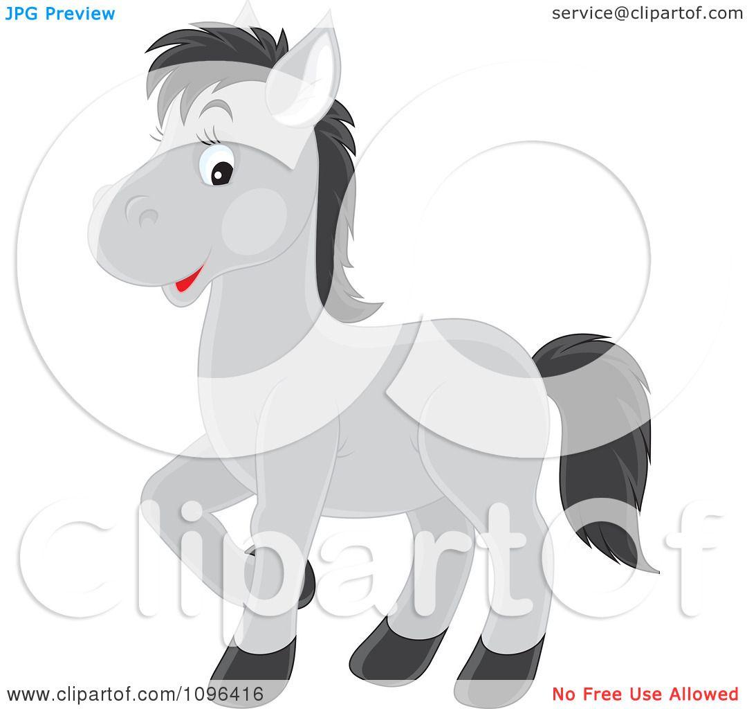 Happy Gray Hair Clipart Cute Happy Gray Horse