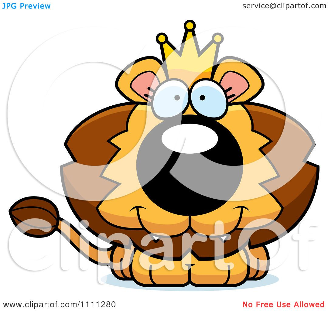 Clipart Cute Happy King Lion Cub - Royalty Free Vector ...