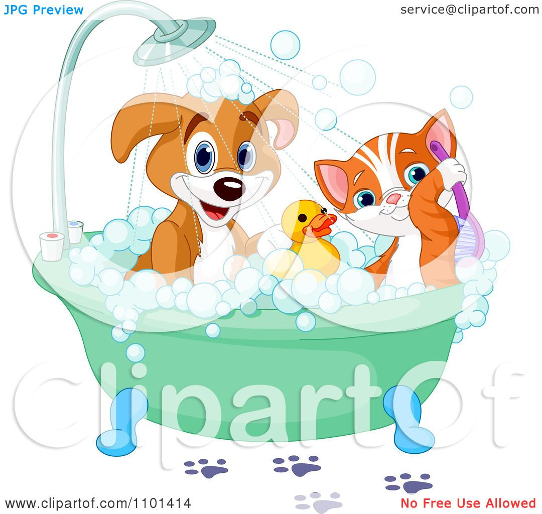 Free rf poodle clipart illustration 215241 by bnp design studio - Clipart Cute Happy Puppy And Cat Bathing With A Rubber Duck Royalty Free Vector Illustration By Pushkin