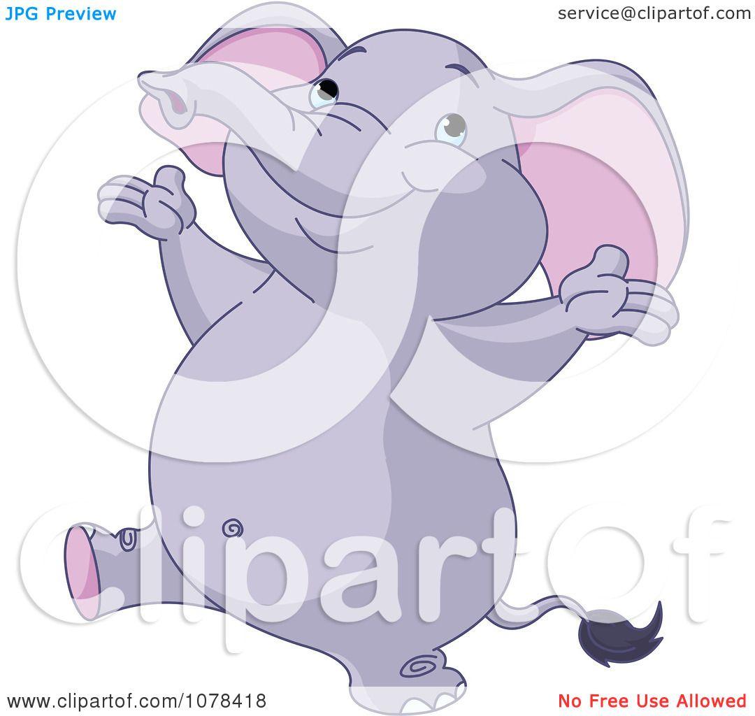 Clipart Cute Happy Purple Elephant - Royalty Free Vector ...