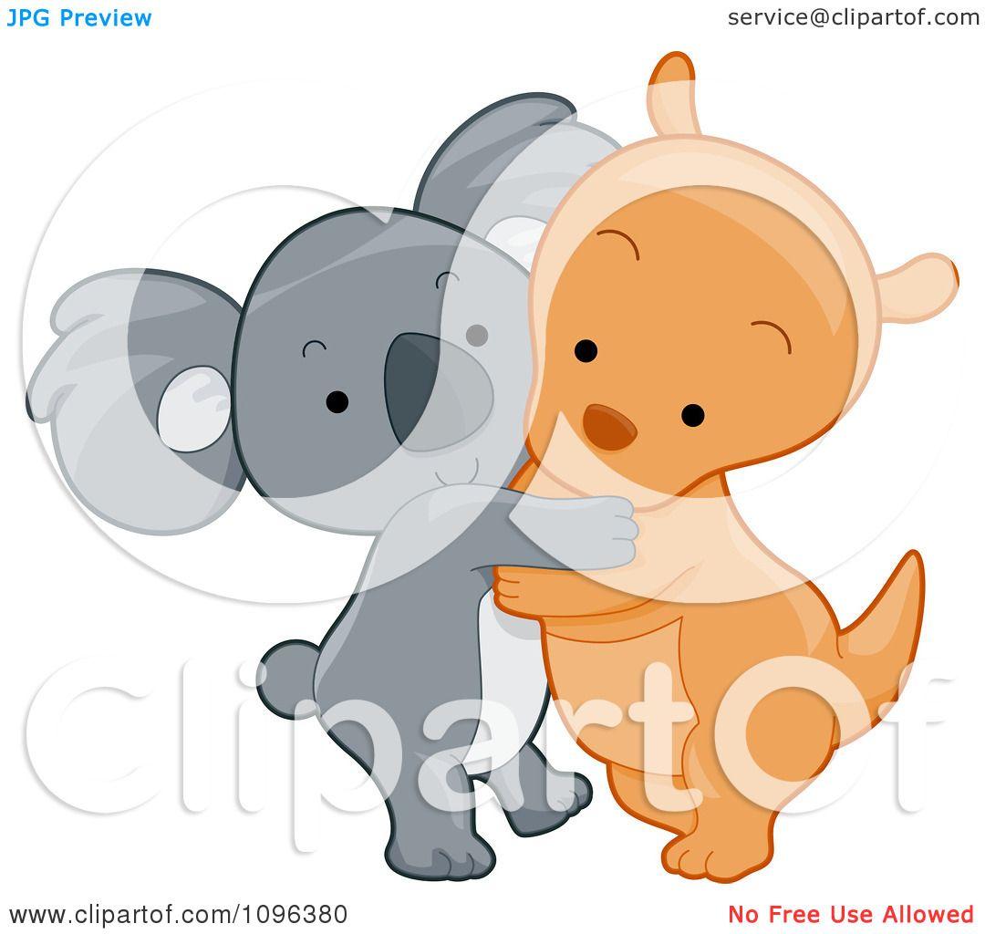 Koala Art And Design : Clipart cute koala and kangaroo hugging royalty free