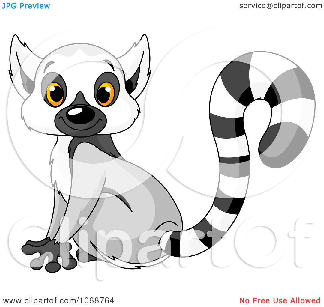 Clipart Cute Lemur Sitting Royalty Free Vector