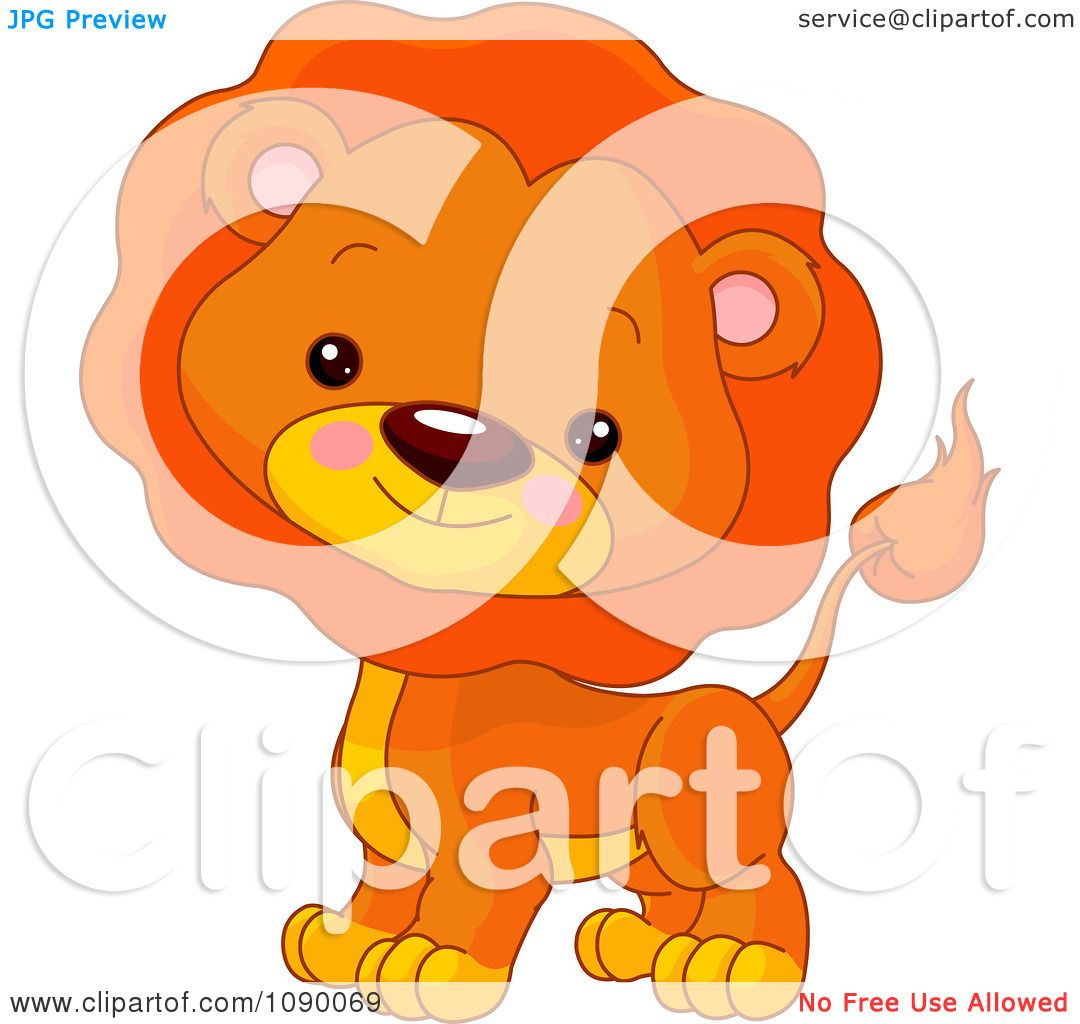 Clipart Cute Lion Cube With A Mane - Royalty Free Vector ...