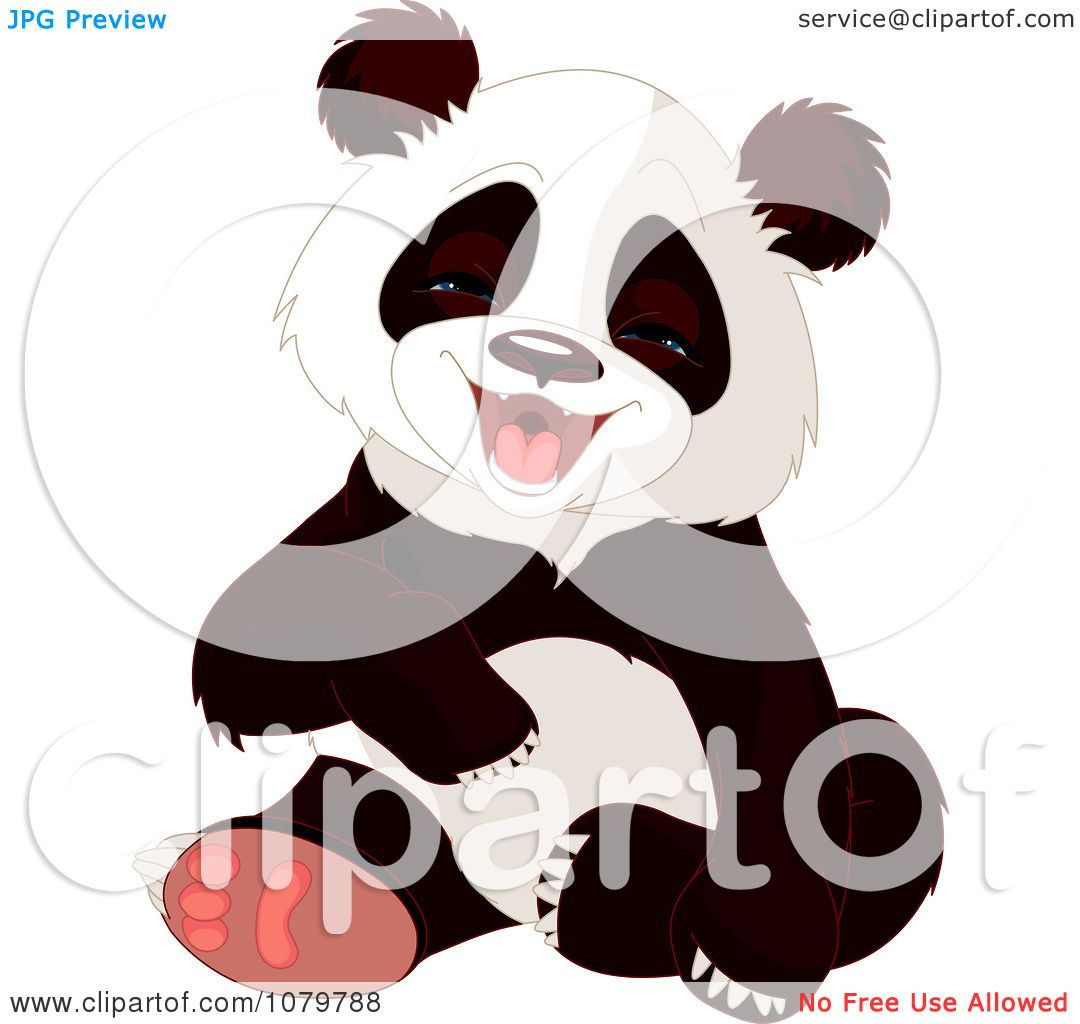 Clipart Cute Panda Laughing Royalty Free Vector