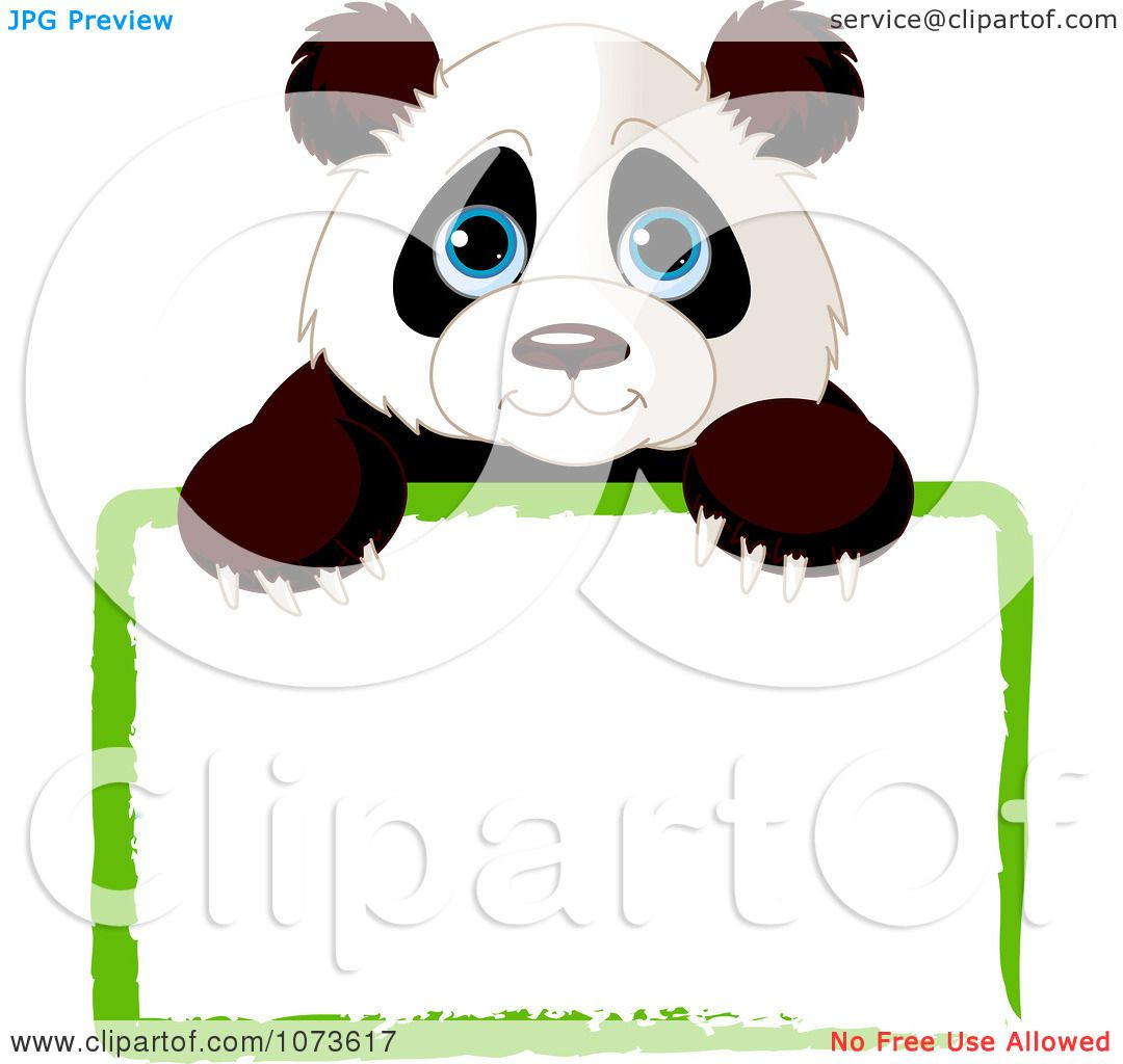 Clipart Cute Panda Looking Over A Green Sign - Royalty Free Vector ...