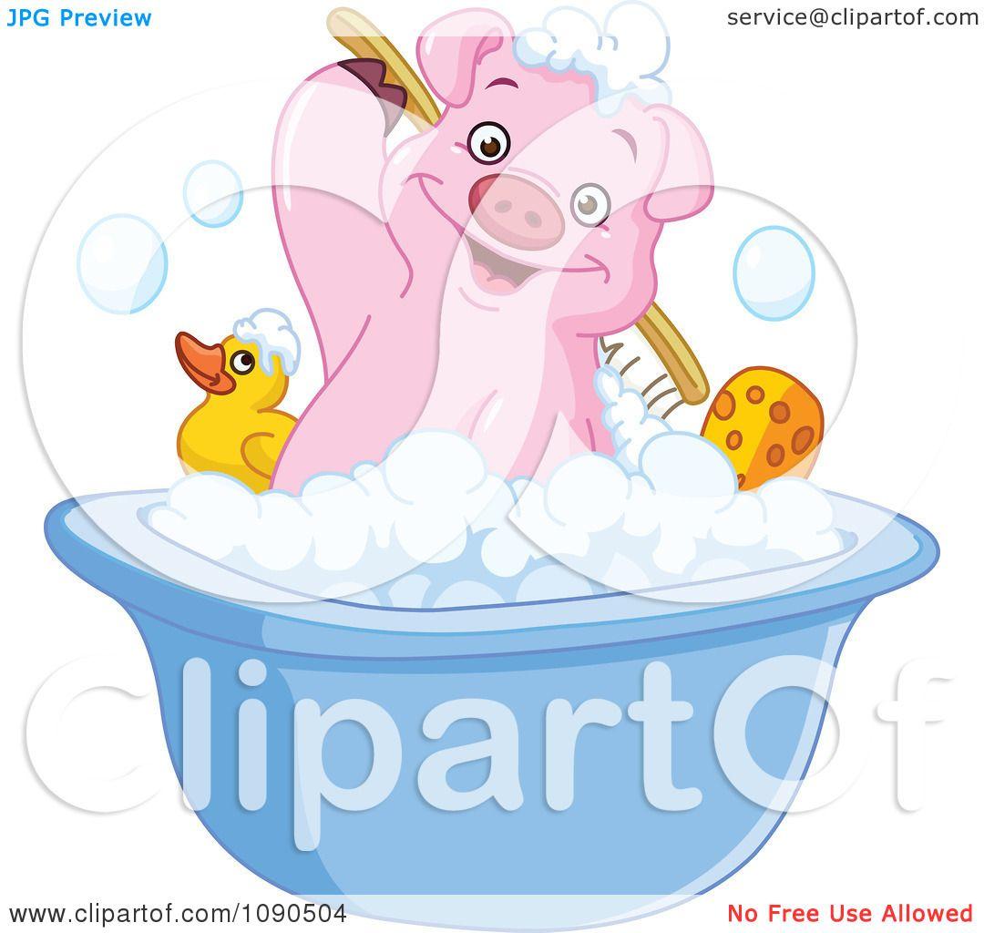 Clipart Cute Pig Scrubbing His Back In A Bath Tub - Royalty Free ...