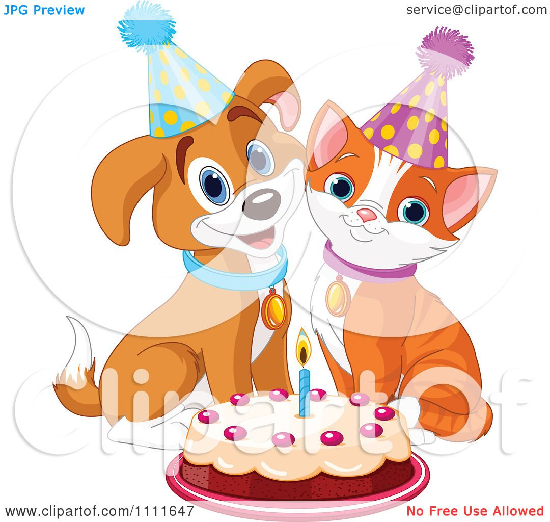 Clipart Cute Puppy And Cat Wearing Party Hats And Smiling Over A