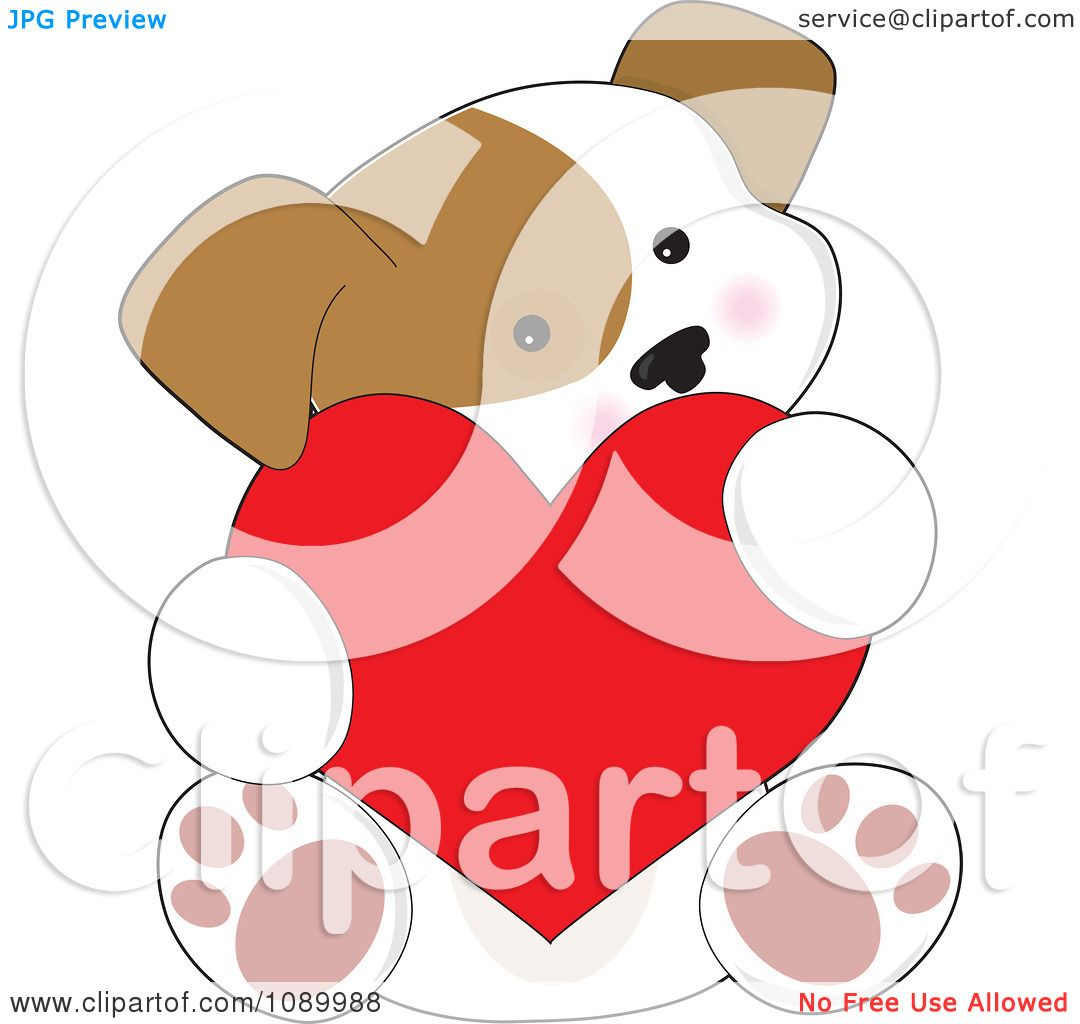 Clipart Cute Puppy Holding A Red