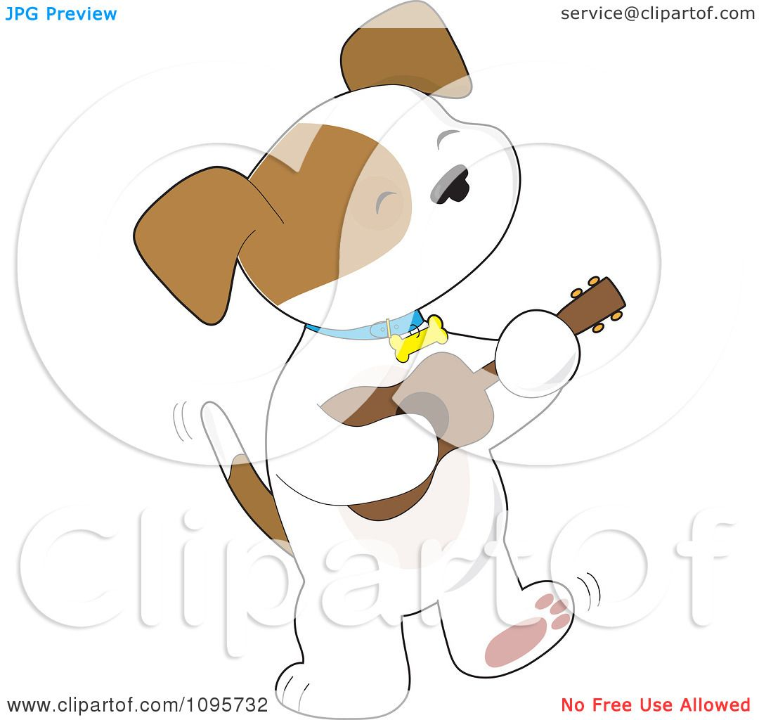 Clipart Cute Puppy Tapping His Foot And Playing A Ukulele