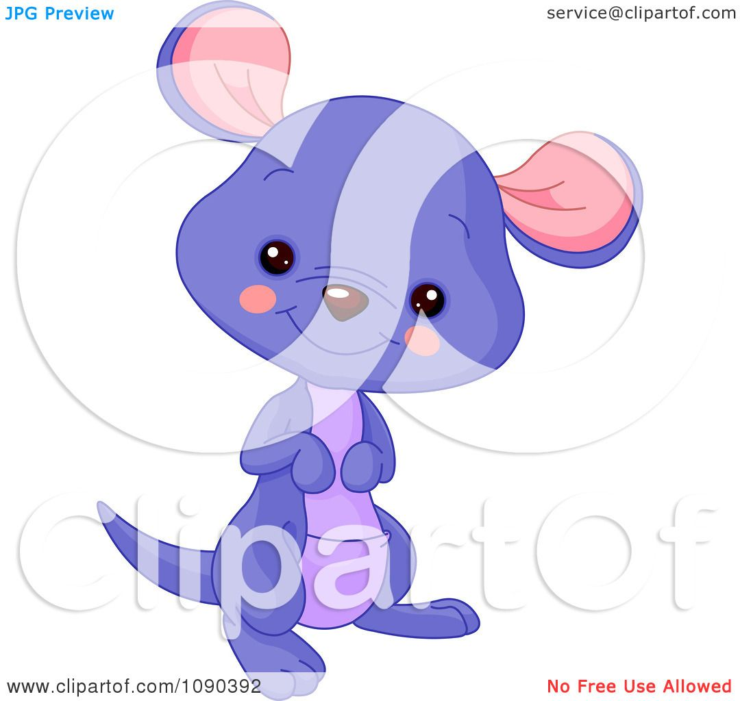 Clipart Cute Purple Baby Zoo Kangaroo Smiling Royalty Free Vector Illustration By Pushkin 1090392
