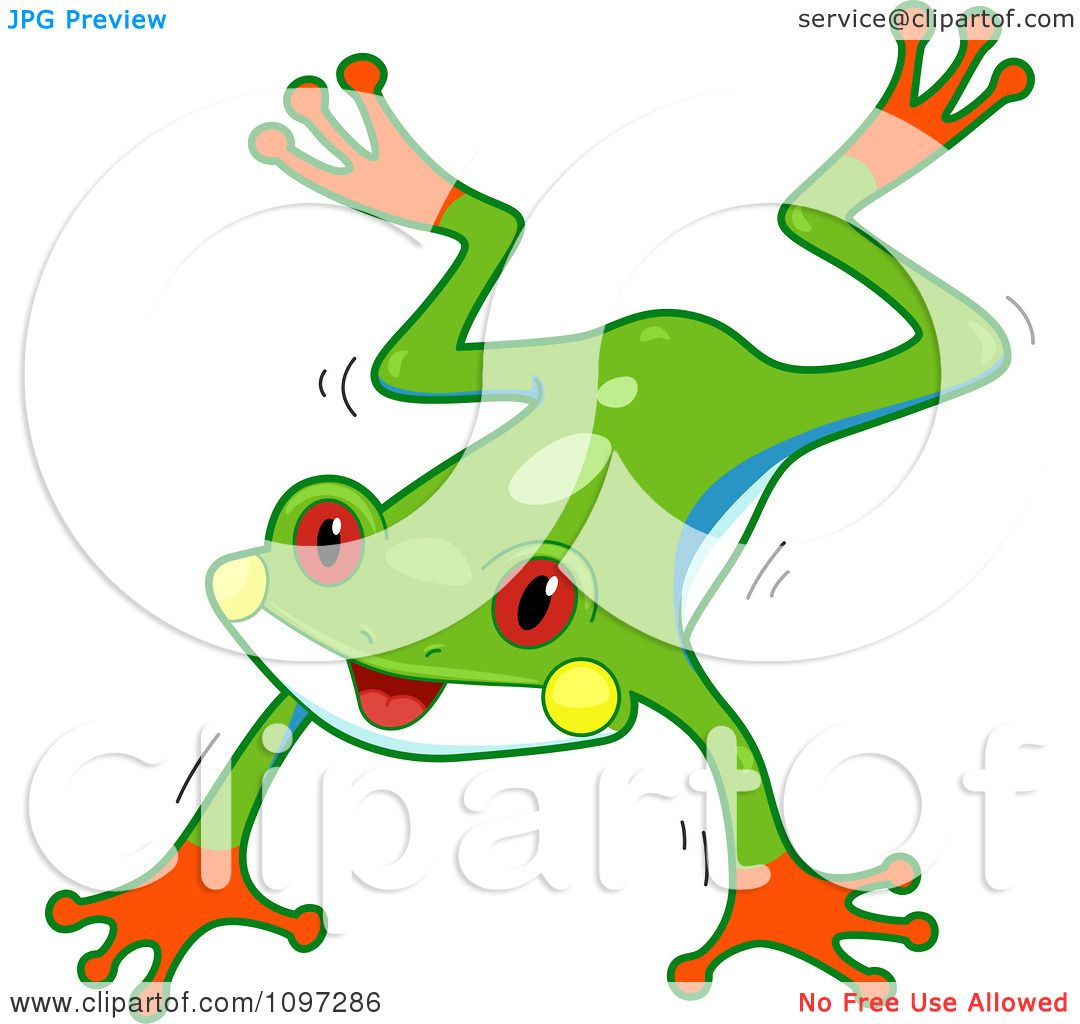 Clipart Cute Red Eyed Tree Frog Jumping - Royalty Free Vector ...