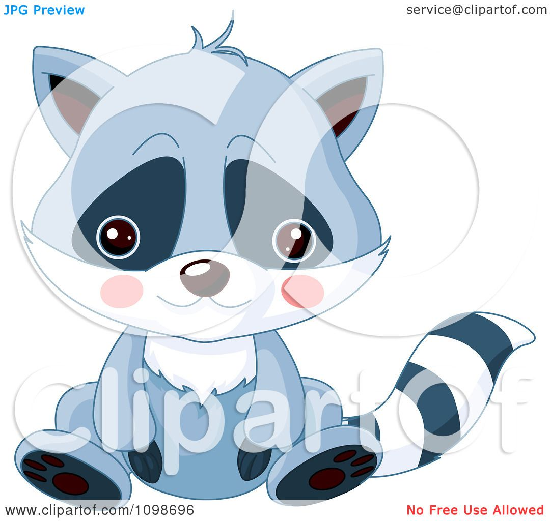 clipart cute sitting raccoon with a sad face royalty free vector
