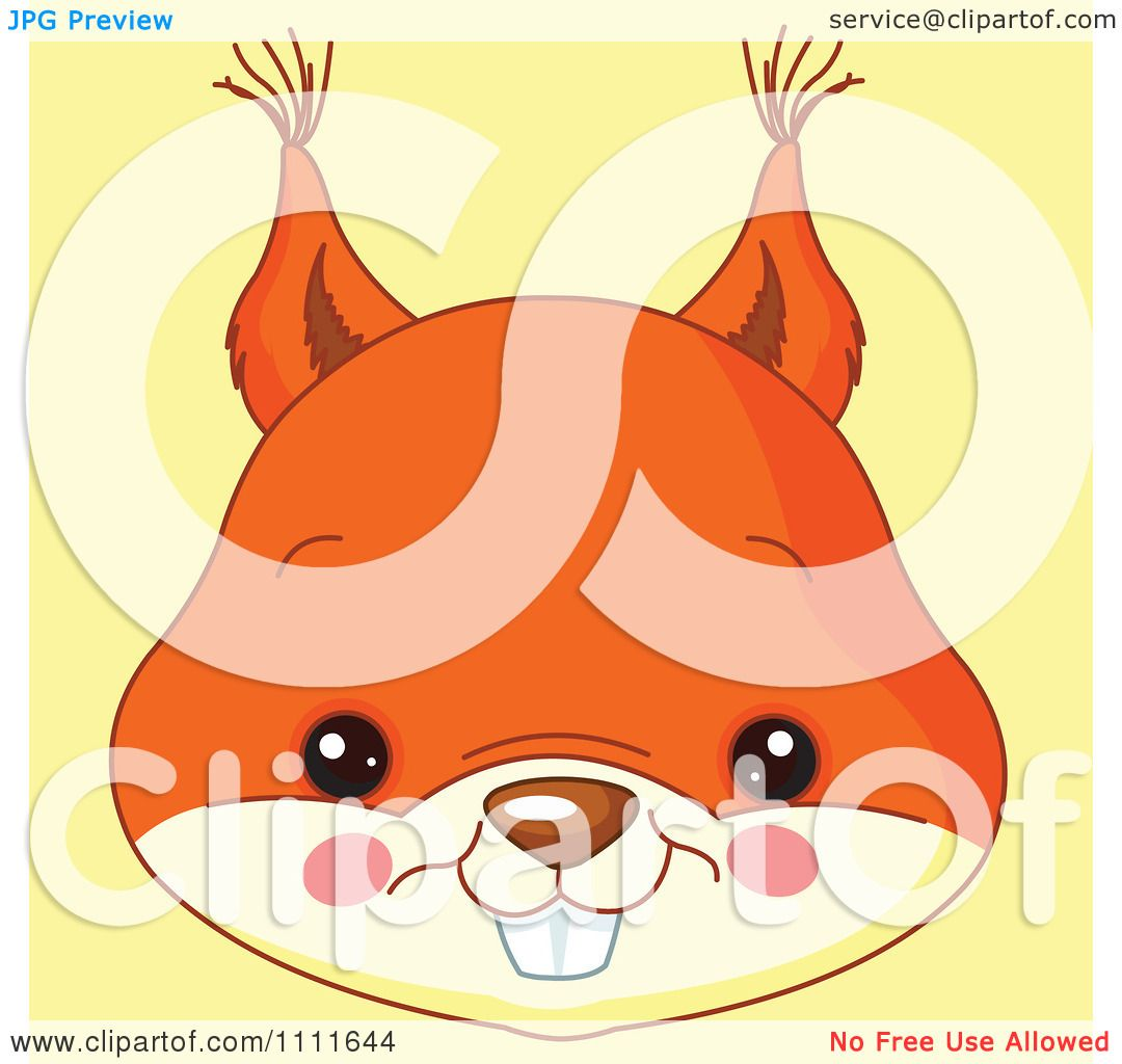 Clipart cute squirrel avatar face on yellow royalty free - Clipart illustration ...