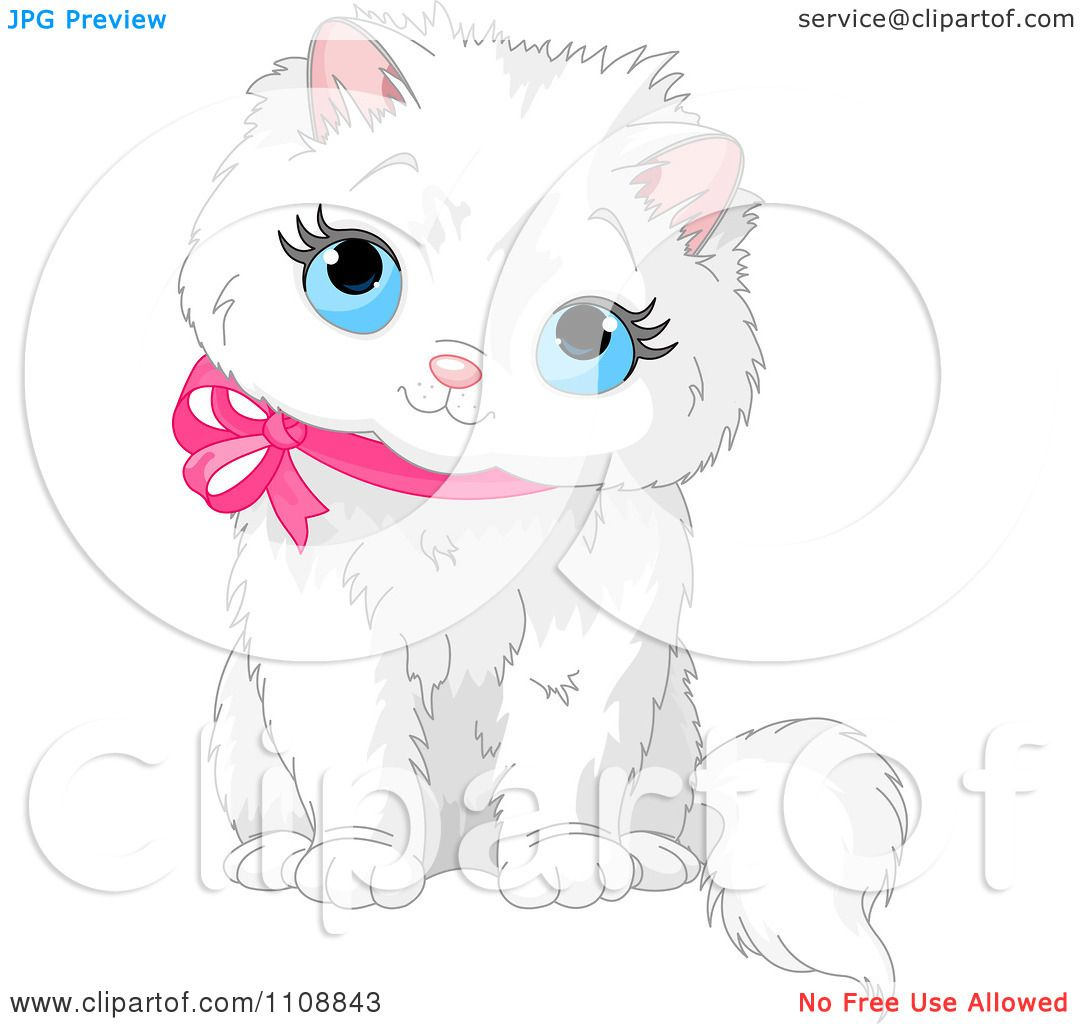 Clipart cute white kitten sitting looking up and wearing a pink ribbon collar royalty free