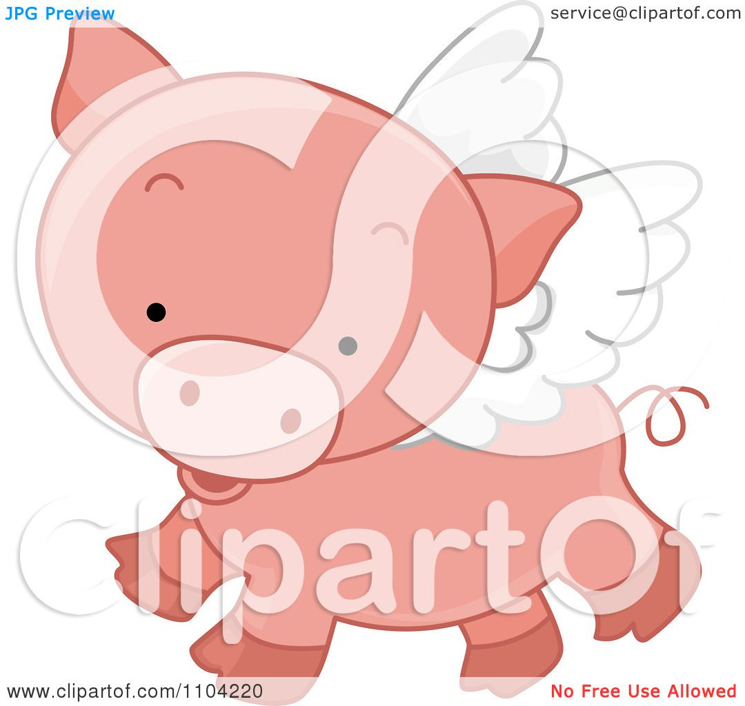 Clipart Cute Winged Pig Flying - Royalty Free Vector ...