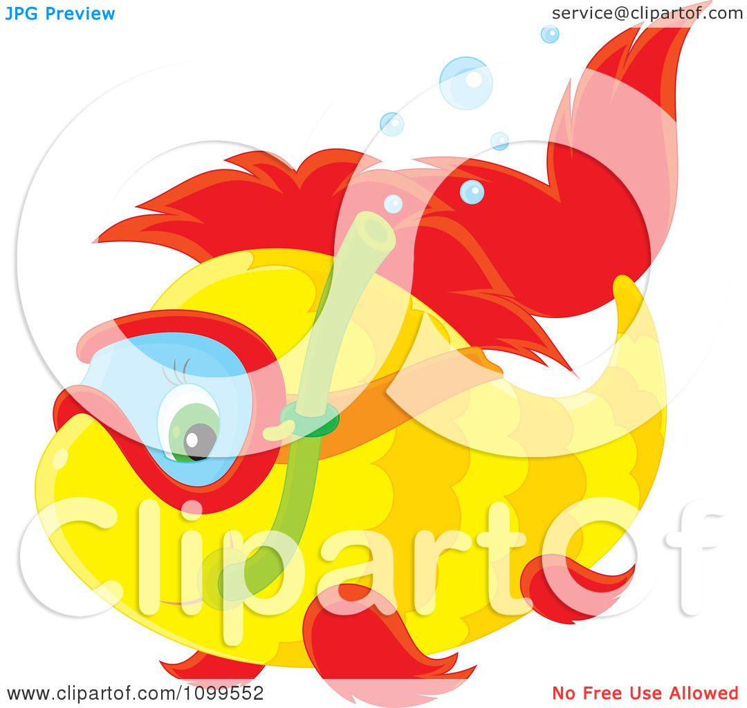 Clipart Cute Yellow And Red Snorkeling Fish - Royalty Free Vector ...