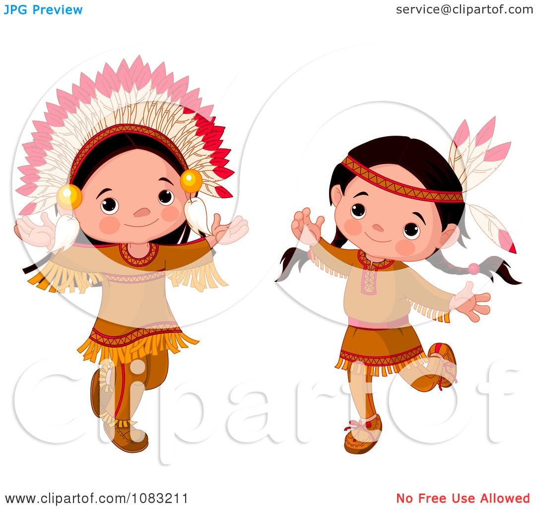 Clipart Dancing Thanksgiving Native American Girl And Boy