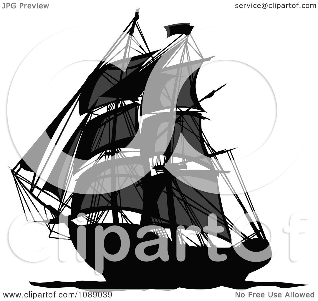 clipart dark mysterious pirate ship royalty free vector