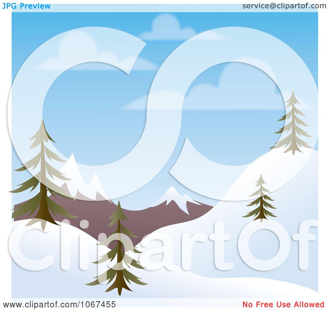 Landscape Illustration Vector Free: Clipart Day Time Winter Hillside Landscape