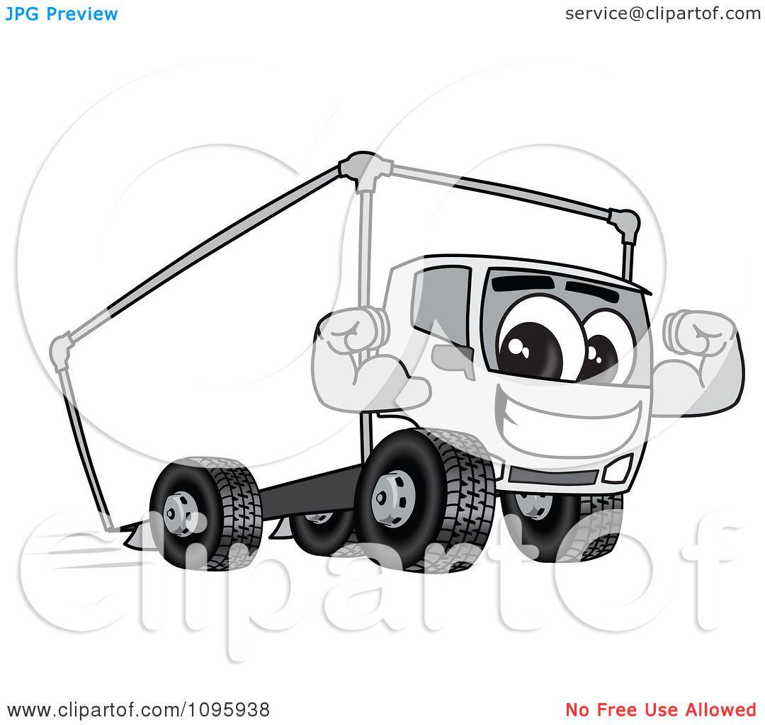 Clipart Delivery Big Rig Truck Mascot Character Flexing