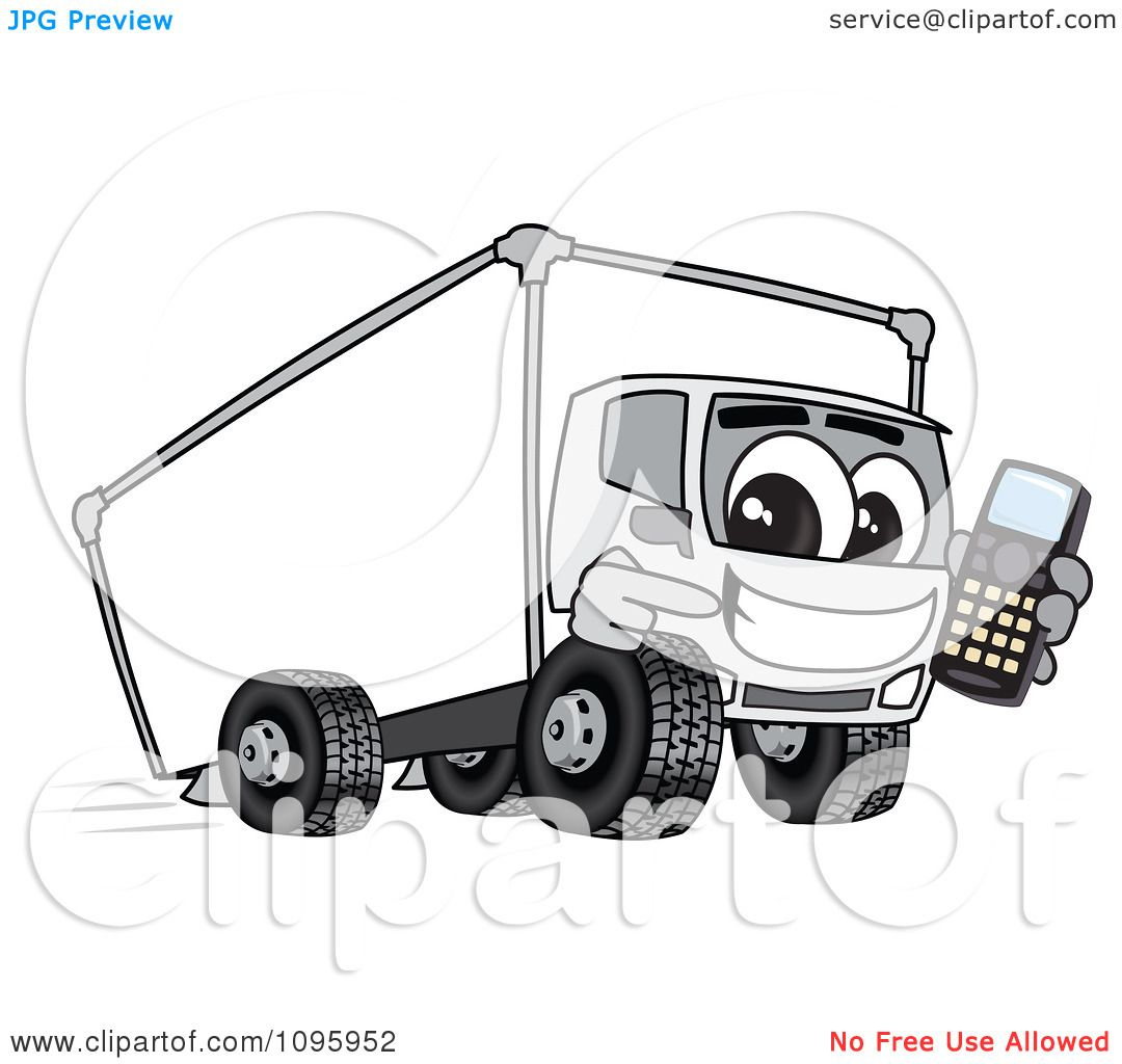 Clipart Delivery Big Rig Truck Mascot Character Holding A