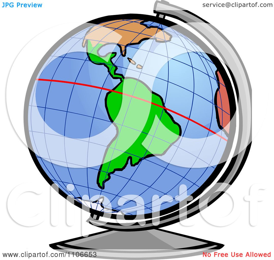 Clipart Desk Globe With The Equator Line   Royalty Free Vector Illustration  By Cartoon Solutions