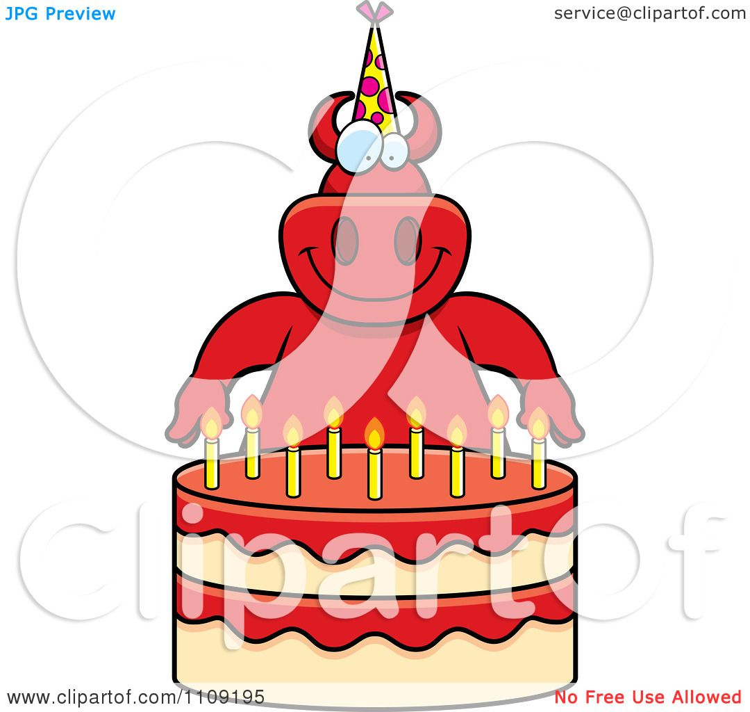 Clipart Devil Making A Wish Over Candles On A Birthday