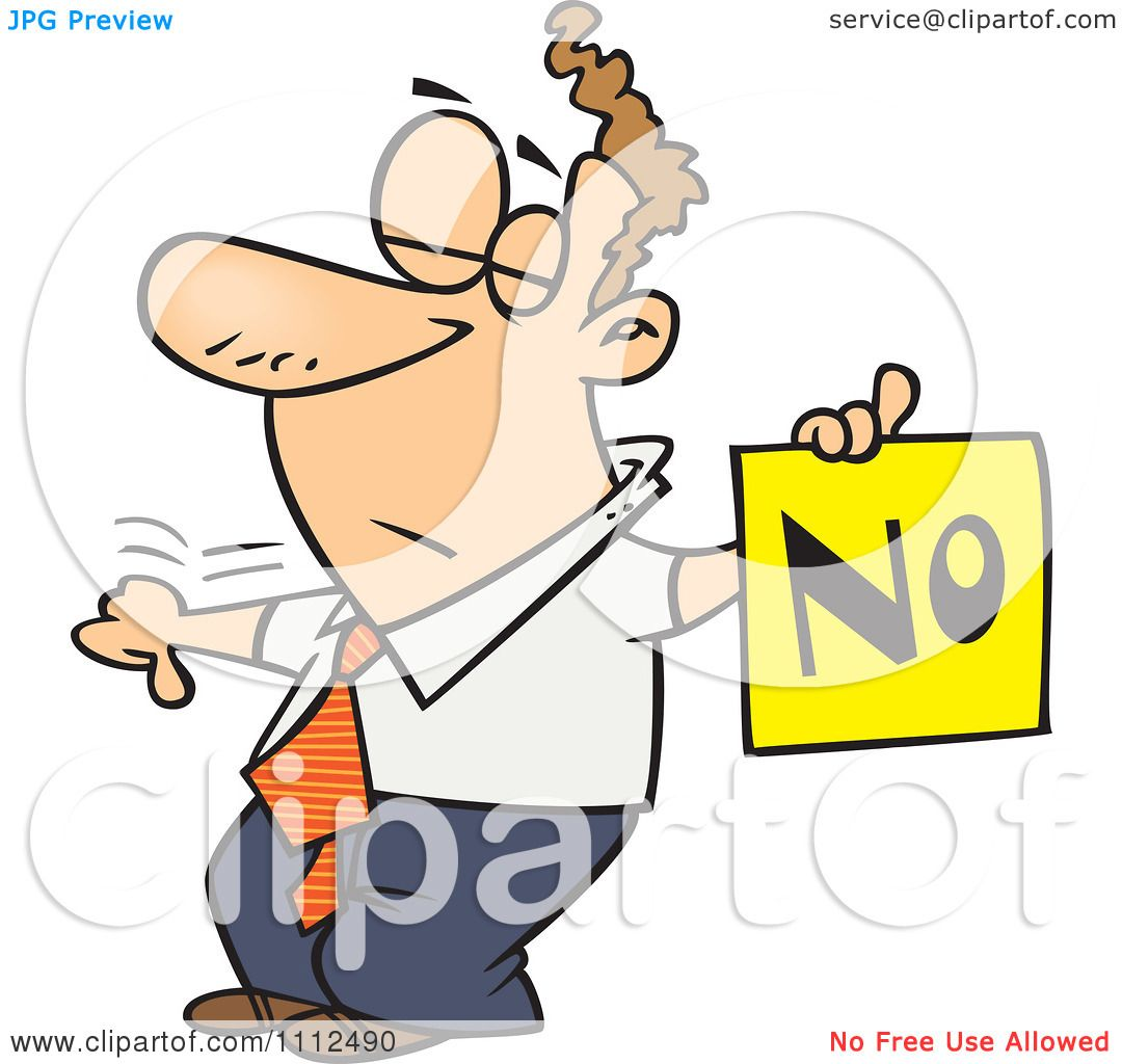 Clipart displeased man with a thumb down holding a no sign for Free clipart no copyright