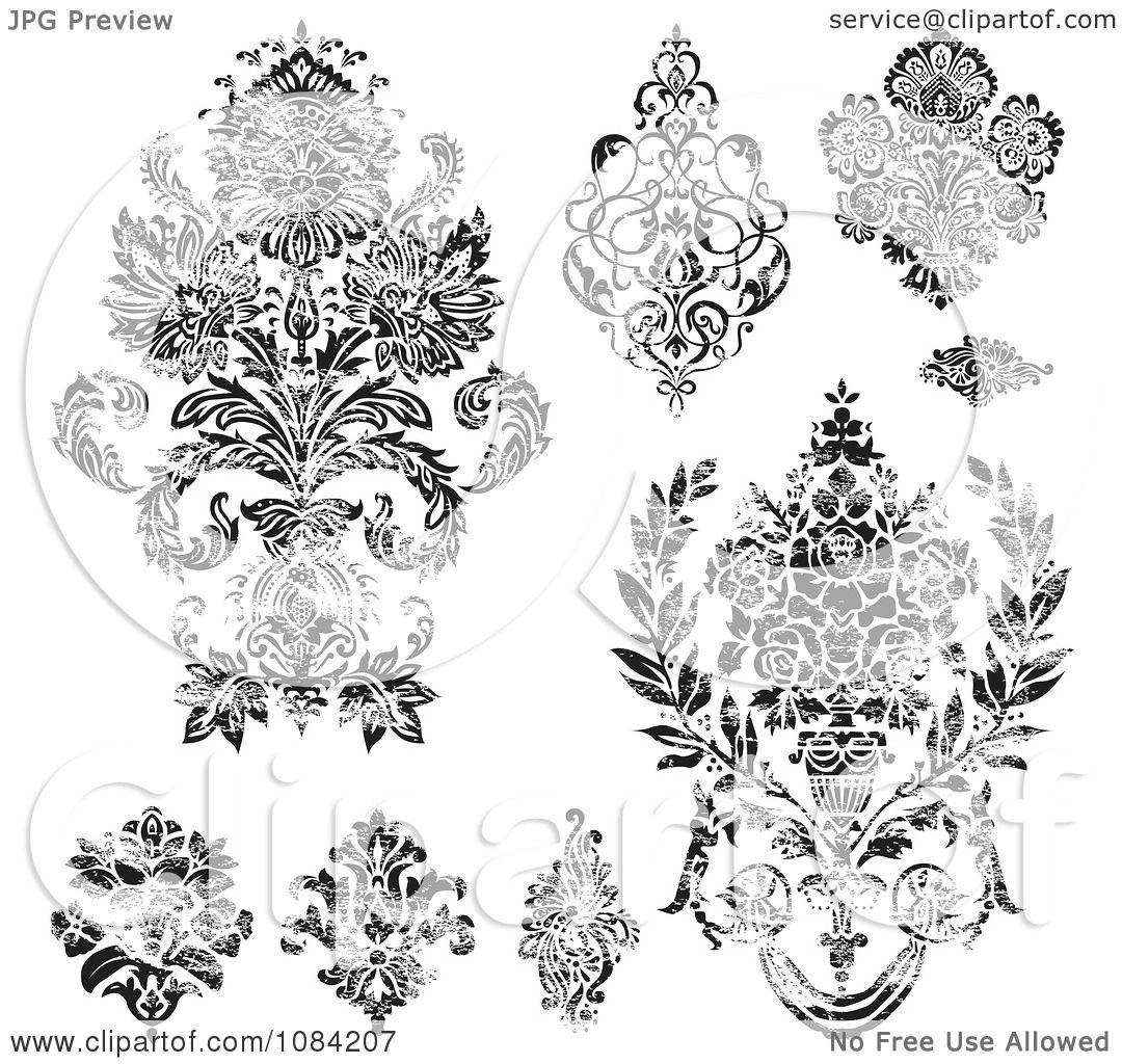 Set Of Black Flower Design Elements Vector Illustration: Clipart Distressed Black And White Floral Design Elements