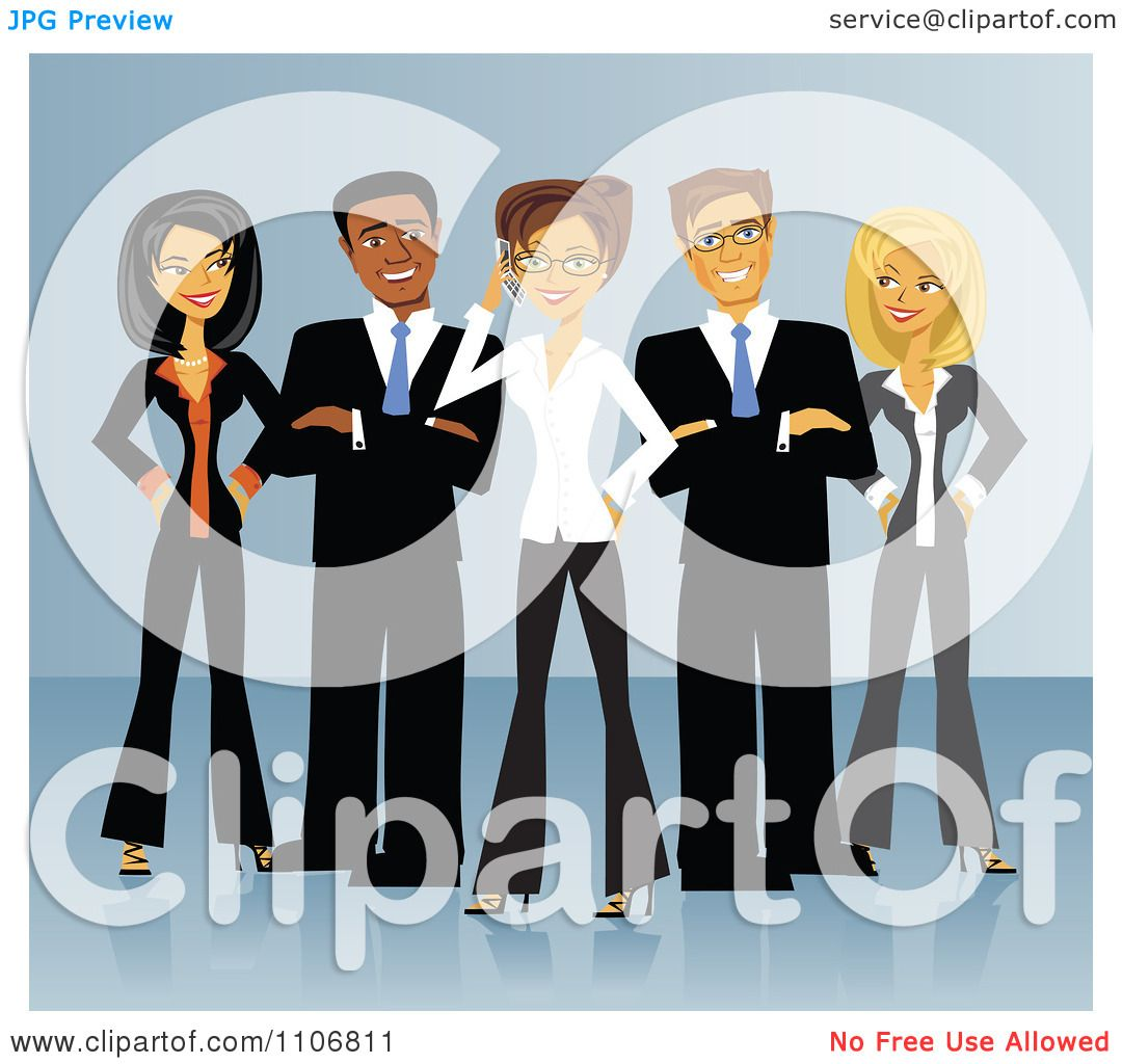 Clipart Diverse Business Team Of Men And Women Standing In ...
