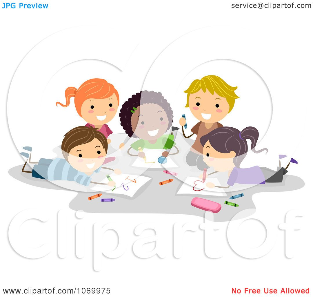 Clipart Diverse Stick Students Coloring Together - Royalty ...