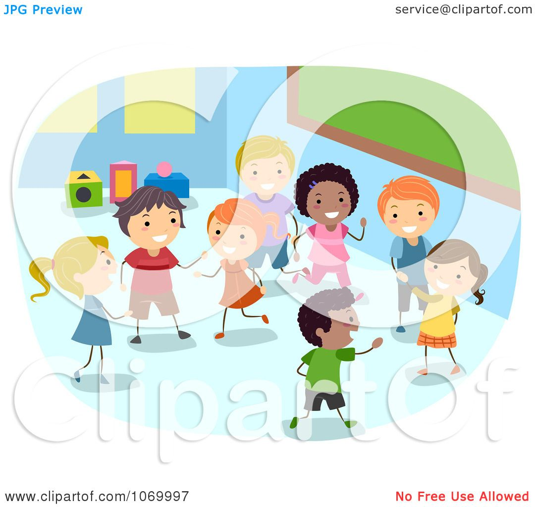 Clipart Diverse Stick Students Playing In A Class Room