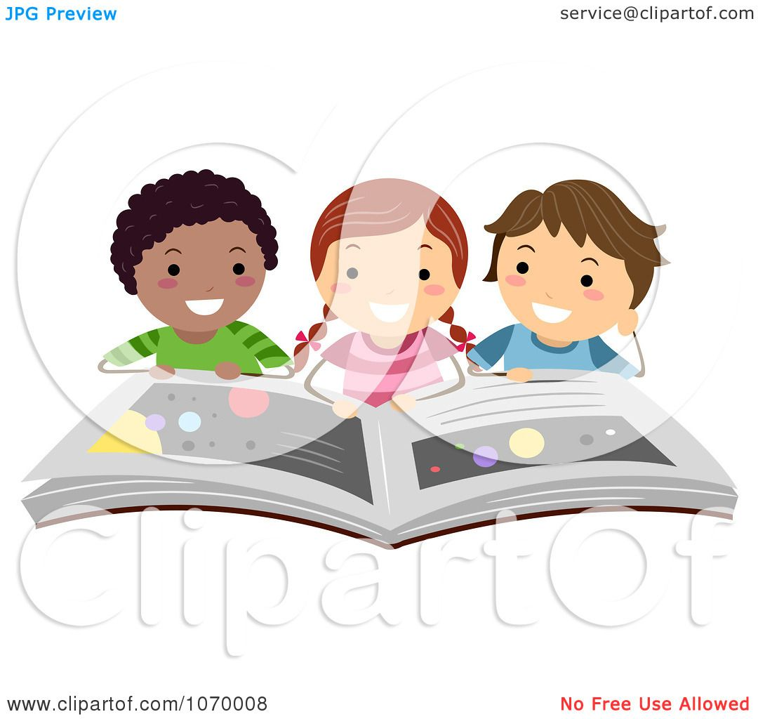 Clipart Diverse Stick Students Reading A Book On The ...