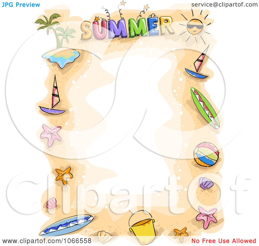 Clipart Doodled Summer Border - Royalty Free Vector ...