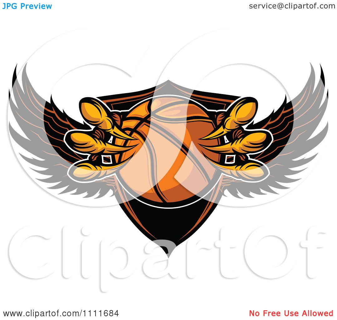 clipart eagle talons grabbing a basketball and a winged shield royalty free vector. Black Bedroom Furniture Sets. Home Design Ideas