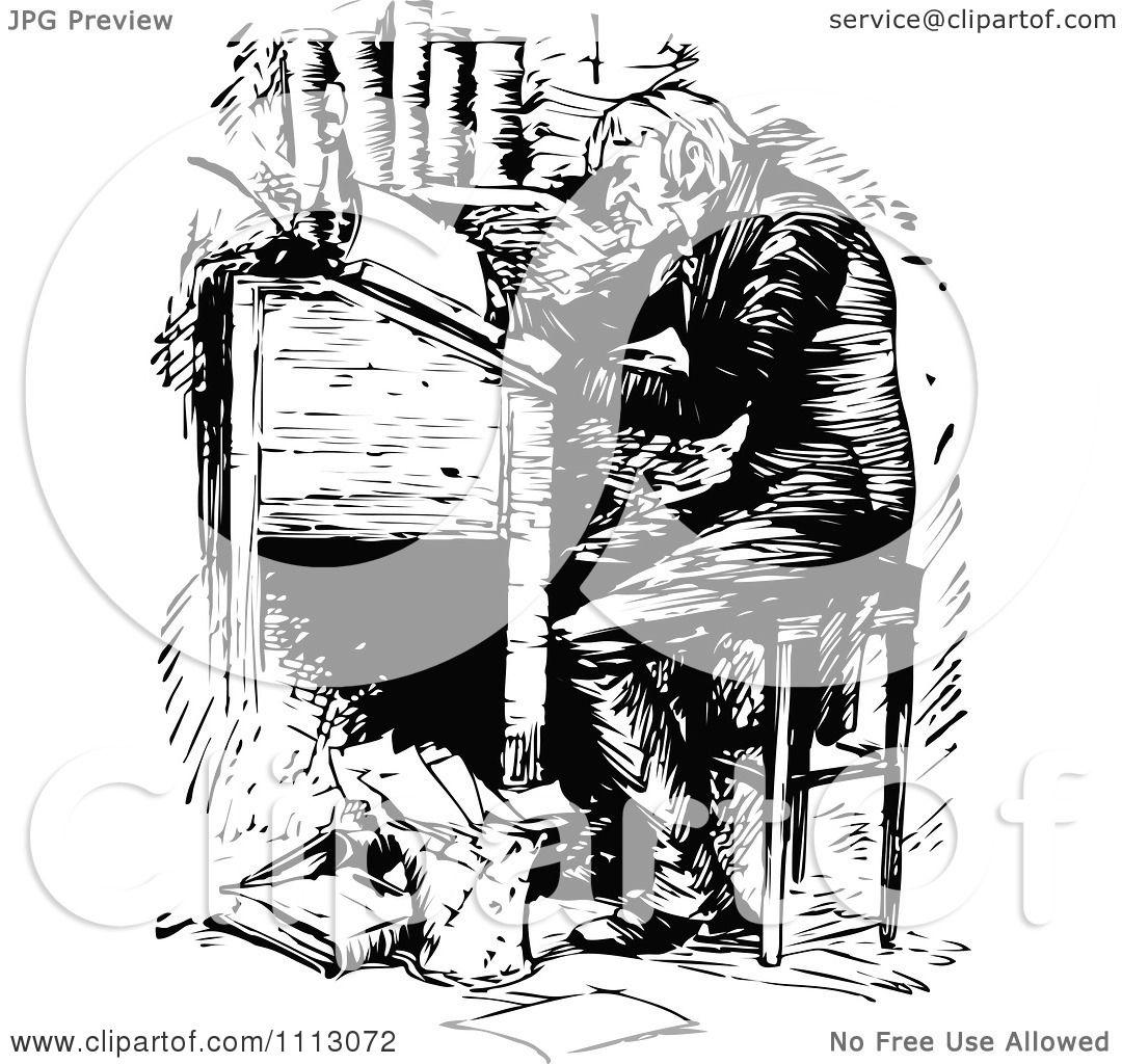 Clipart Ebenezer Scrooge Working At A Desk - Royalty Free Vector Illustration by Prawny Vintage ...