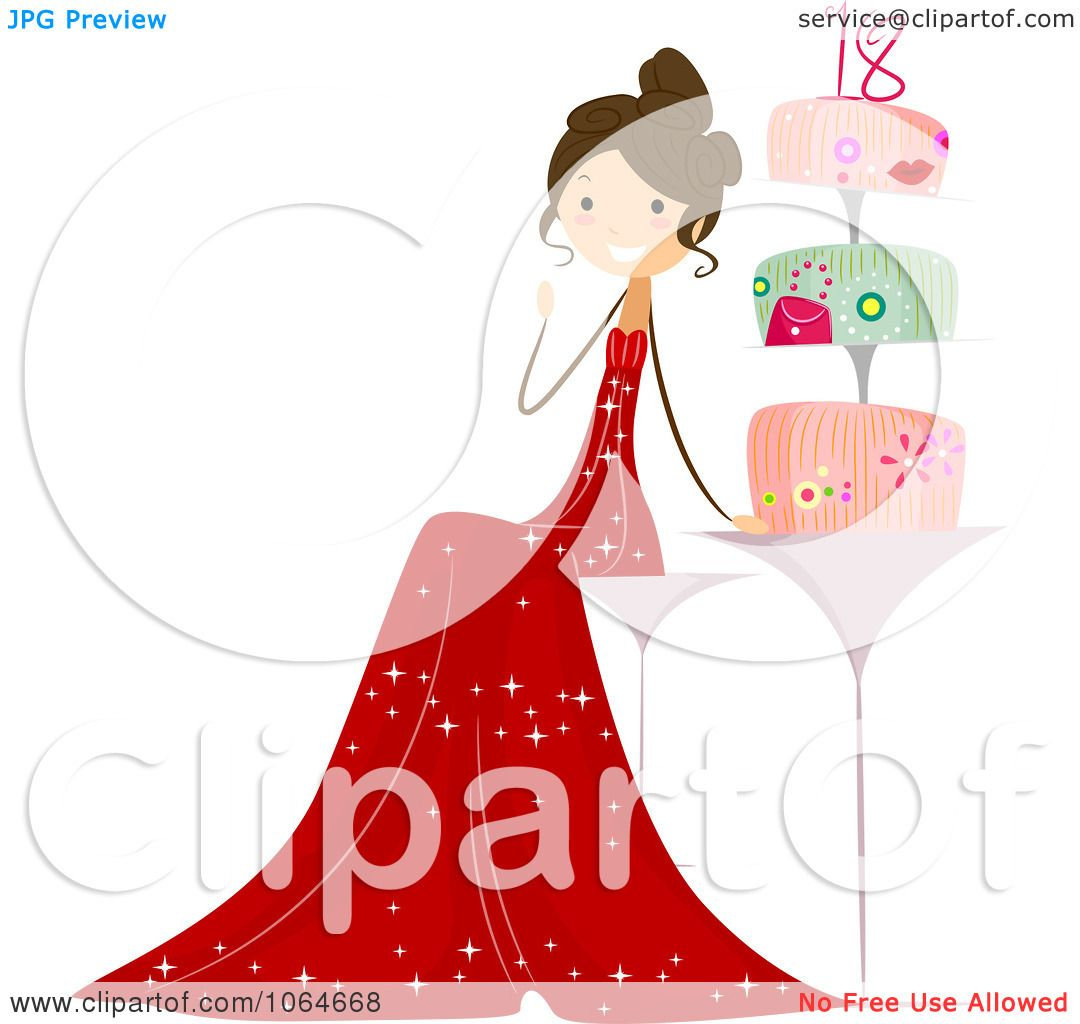 Clipart Eighteen Year Old Girl By Her Cake Royalty Free