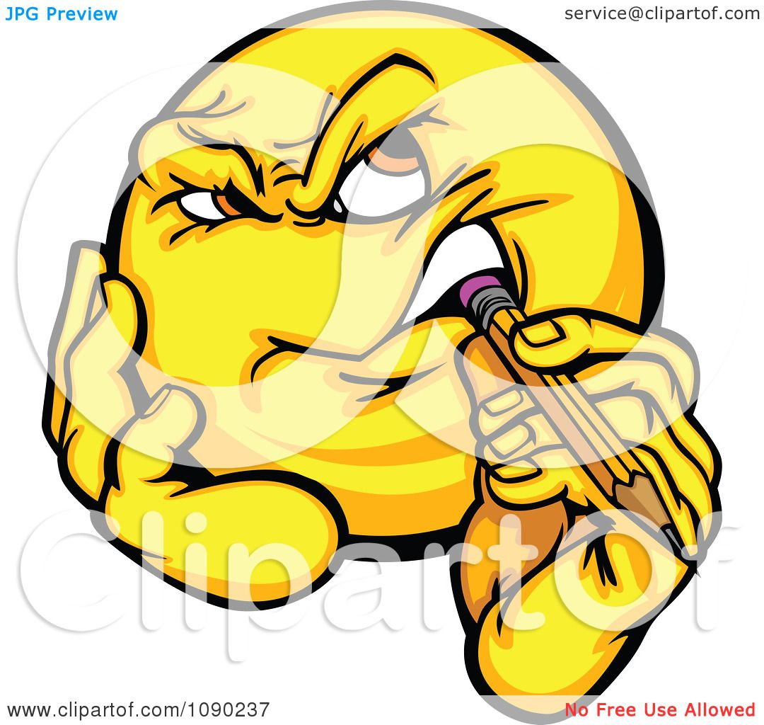 Clipart Emoticon Thinking And Biting A Pencil Royalty Free Vector Illustration By Chromaco