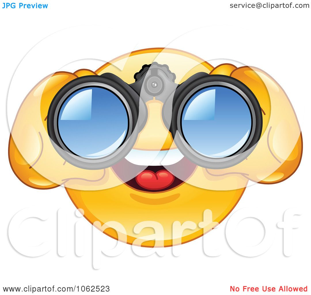 Clipart Emoticon Using Binoculars Royalty Free Vector