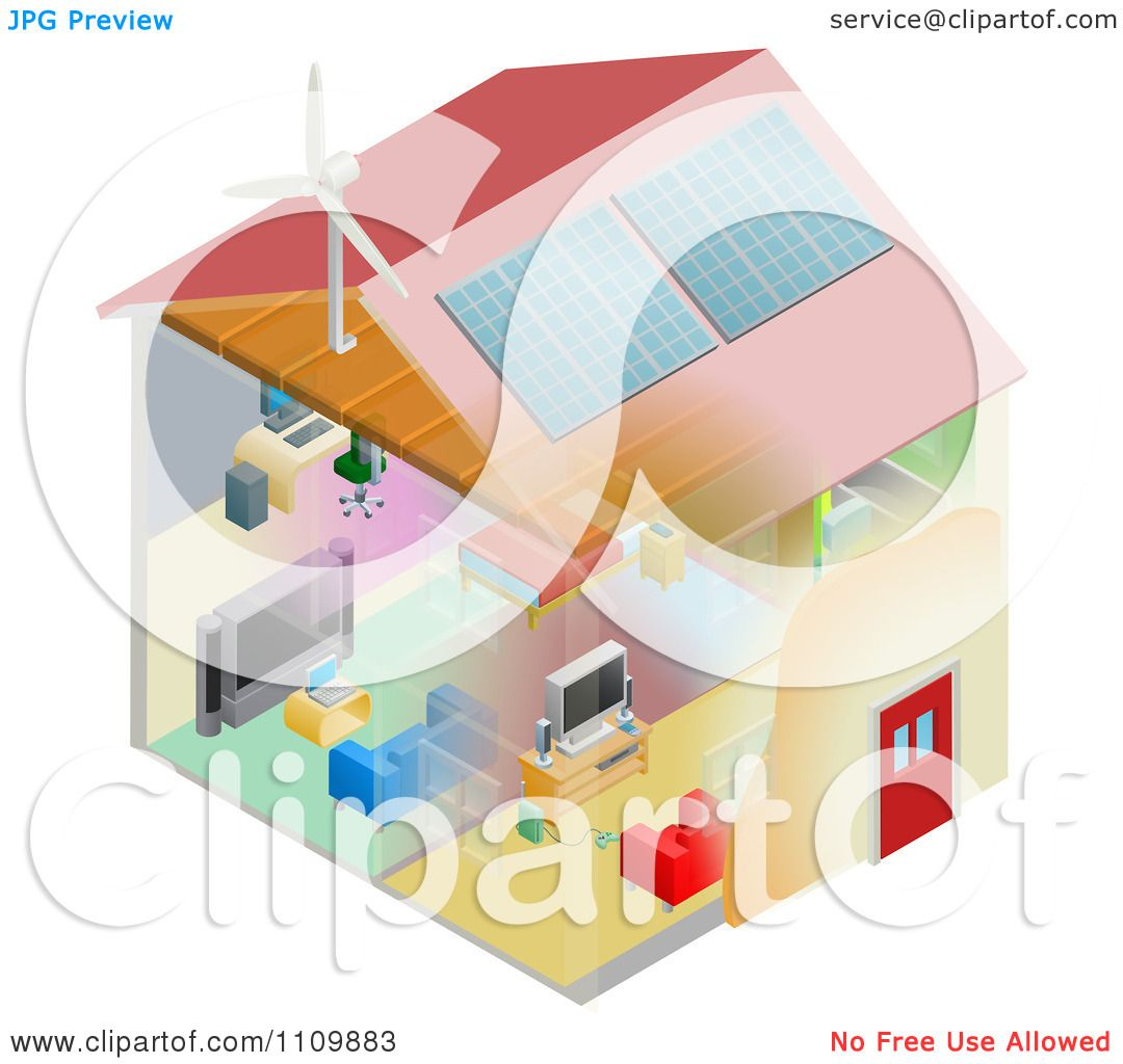 Clipart Energy Efficient Home With Insulation Wind Turbine
