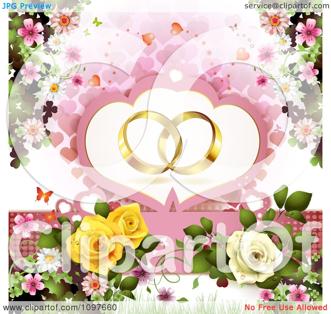 Clipart Engagement Or Wedding Background Golden Rings Over Hearts ...