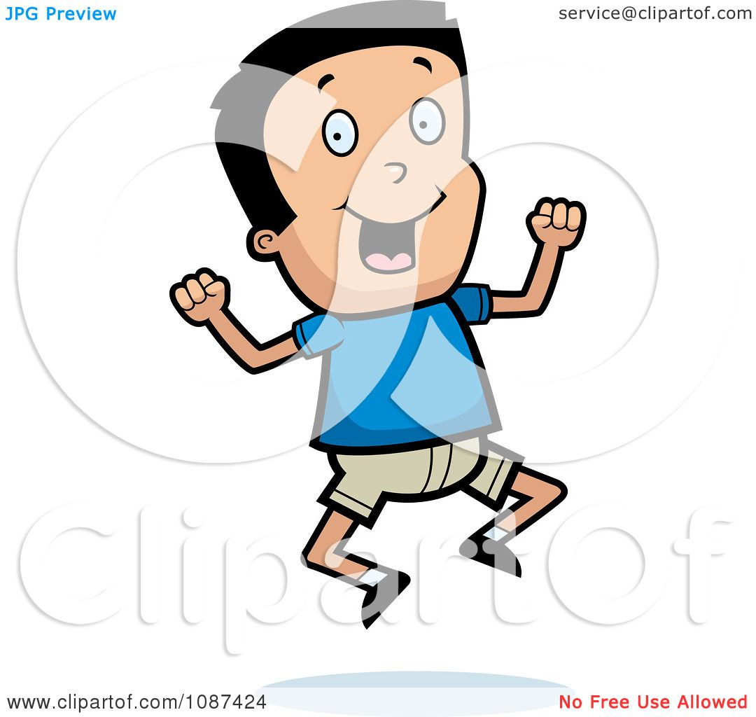 Clipart Excited Boy Jumping