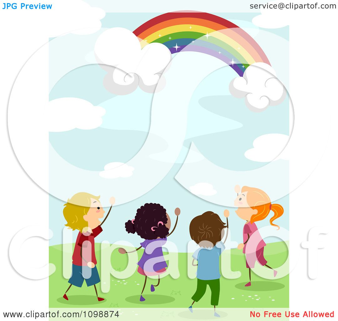 Clipart Excited Diverse Kids Looking Up At A Magical