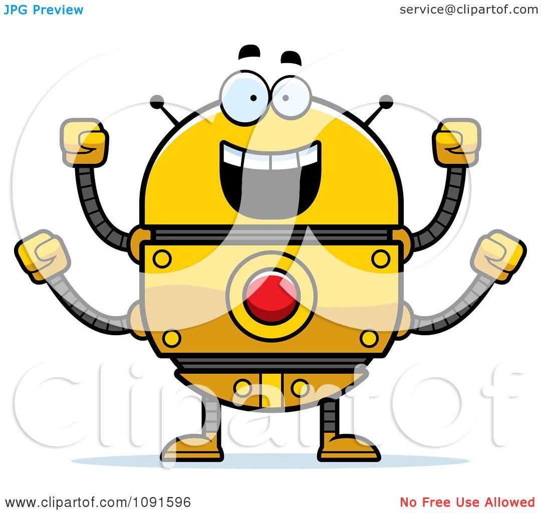 Clipart Excited Golden Robot