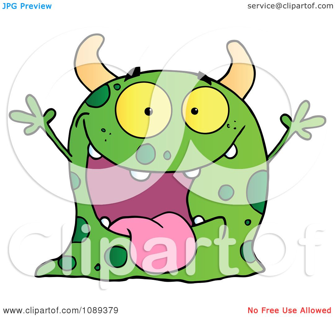 Clipart Excited Green Speckled Monster Holding Up Its Arms ...